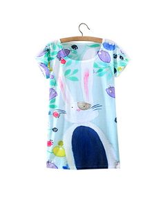 Dreaming Leveret Print Round Neck Loose T Shirt TS0230044