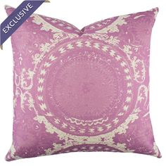 Handmade in the USA, this chic cotton denim pillow showcases a suzani medallion motif in an au courant hue. Radiant Orchid 2014 Color of the year.