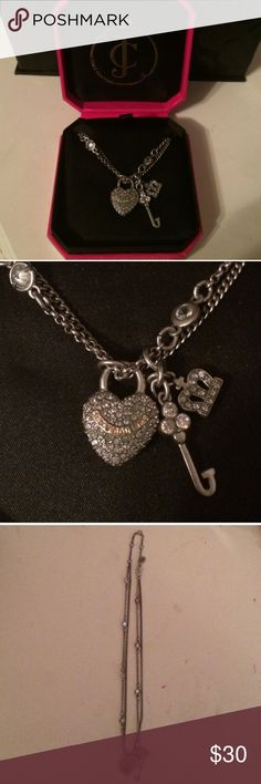 Juicy Couture Necklace Silver Juicy Couture necklace with multiple chain and charms, never worn! Prices negotiable Juicy Couture Jewelry Necklaces