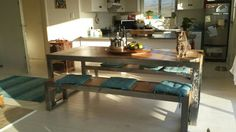 Steel and eucalyptus dining room table made 2014
