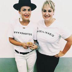 Crystal Birch & Anelde Greef wear DEURMEKAAR and MOEILIKHEID. To place your order visit www.mevrouandco.com.