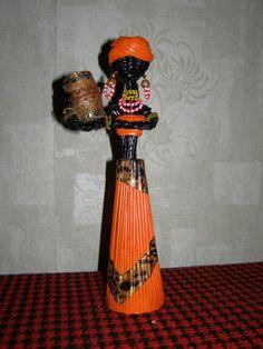 африканка,плетение из газет.