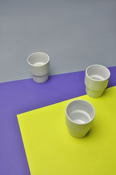 Ceramic mugs from Lubiana - Polish pottery factory.
