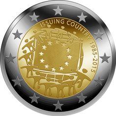 Moneda de 2€ año 2015 conmemorativa 30º aniversario de la bandera europea