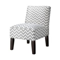 Armless Upholstered Accent Slipper Chair - Gray Chevron Quick Information