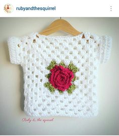 Instagram @rubyandthesquirrel - crochet toddler girl rose granny stitch motif top