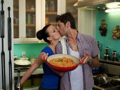 Actress Debi Mazar and her husband, Gabriele Corcos, have their own cooking show, Extra Virgin, that's really good, and they're such a cute couple!