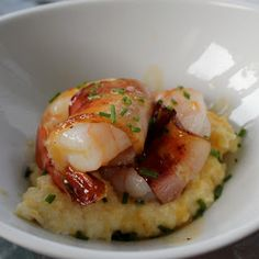 Cream Cheese Grits with shrimp and bacon