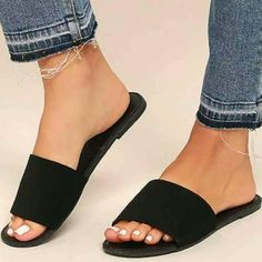 The best things in life are simple and chic, just like the Addison Black Nubuck Slide Sandals! Soft vegan nubuck shapes a wide toe band atop a peep-toe upper. Easy to wear slide-on-design. Shoes Flats Sandals, Cute Sandals, Cute Shoes, Slide Sandals, Black Sandals, Me Too Shoes, Shoe Boots, Sandal Heels, Slip On Sandals Outfit