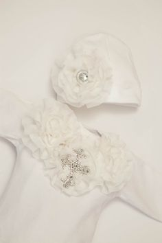 Newborn Baby Layette: White Cotton Baby Gown with Chiffon Flowers and Rhinestone Cross