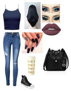 """""""Untitled #410"""" by darkfire9 on Polyvore featuring Lime Crime, Converse, Kate Spade and MICHAEL Michael Kors"""