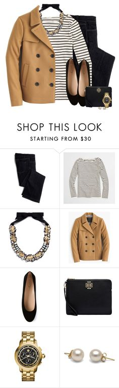 """J.crew peacoat, statement necklace & striped top"" by steffiestaffie ❤ liked on Polyvore featuring Avon, J.Crew, Tod's and Tory Burch"