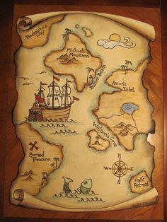 Resultado de imagen de giant treasure map wall decoration mural