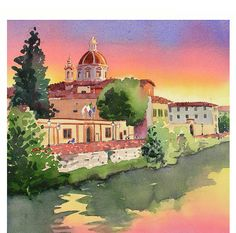 Italy Florence Art Sunset Painting Landscape #TuscanyAgriturismoGiratola