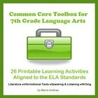 26 learning activities aligned to the Common Core Standards for 7th grade ELA.   (Note: Now you can get 77 learning activities and three grade leve...