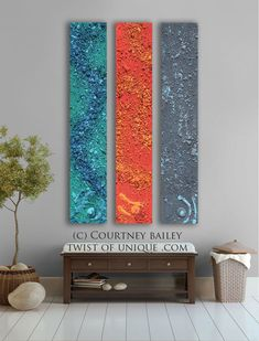 Pastel Abstract paintings, 3 panel CUSTOM absract Wall Art- Large Modern abstract artwork turquoise, Orange, Gray