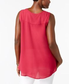 Style & Co Swing Sleeveless Blouse, Only at Macy's - Pink XL