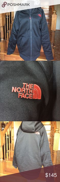 THE NORTH FACE THERMAL COAT/JACKET THE NORTH FACE THERMAL COAT/JACKET - NEVER STOP EXPLORING(ME 312285). This is a dual 2-in-1 thermal jacket insulated for the winter with hood; black with red writing on one side and gray with black writing on the other side; Size M/M; Fringe waist band and fringed sleeves; slit pockets and inside-out zipper closure. Pre-owned in good condition. The North Face Jackets & Coats Performance Jackets