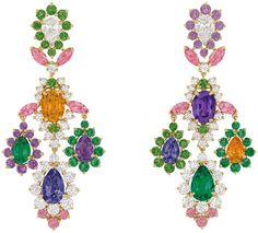 Dear Dior earrings of gold, diamonds, and assorted sapphires and garnets.