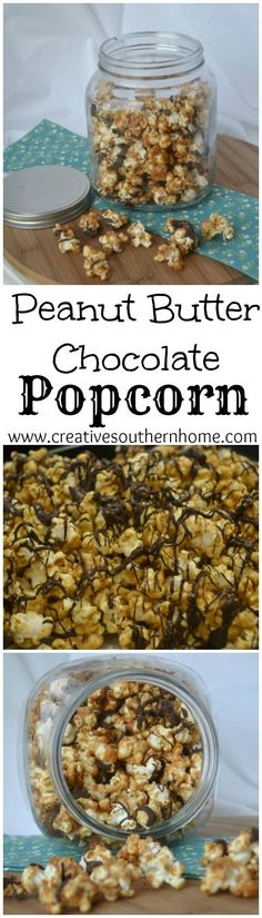 Popcorn coated with peanut butter and drizzled with chocolate.  A perfect snack…