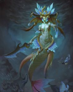 Naga Siren by Naranbaatar Ganbold : ImaginaryAzeroth Character Art, Character Design, Image Painting, Merfolk, Fantasy Rpg, Traditional Art, Concept Art, Otaku, Digital Art
