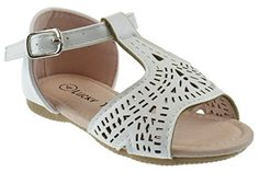 cool DR 5A Little Girls Gladiator Laser Cut Out Flat Sandals White