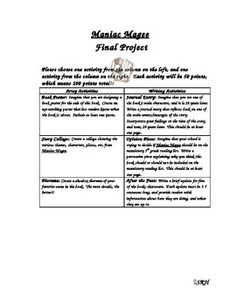 This is a great project for the end of a Maniac Magee novel unit.  Students are given a list of various extension activities, and they must choose two to complete.  I did this with my 5th graders, and I was so pleased with their finished projects.  They turned out great! Maniac Magee, Teaching Language Arts, Fifth Grade, Daily 5, Finals, Middle School, Teaching Ideas, School Ideas, Novels