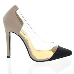Ricci-By-01 Black/Beige Clear Sides Pointed Pumps