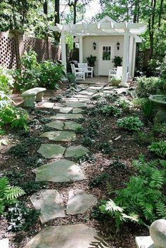 Shade garden- flagstone path to shed Gazebos, Modern Garden Design, Modern Design, She Sheds, He Shed She Shed, Garden Cottage, Backyard Cottage, Rustic Backyard, Large Backyard