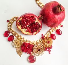 Swarovski crystal lace 24 gold coated necklace by Michael Polkanov Happy New Year ! Red Gold fruit