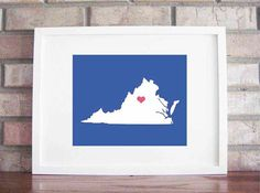 Customize Your Home Is Where The Heart Is  Virginia by LilyGene, $25.00