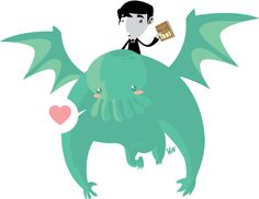 Cute Flying Cthulhu with Lovecraft and book.