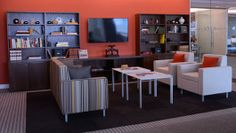 Kimball Definition Storage with Villa Seating and Fluent Tables Neocon 2013
