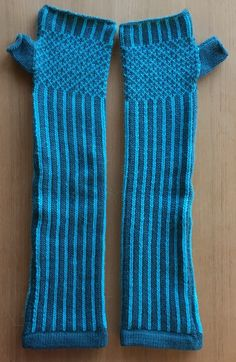 Baby Alpaca Arm Warmers in Turquoise Stripe