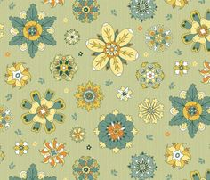 scattered rosette flowers yellow and green large fabric by colorofmagic on Spoonflower - custom fabric Fabric Shop, Custom Fabric, Surface Pattern, Surface Design, Rosettes, Textured Background, Spoonflower, Craft Projects, How To Draw Hands