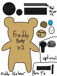 Freddy Fazbear Plush Template by TrinityTheWerewolf33.deviantart.com on @DeviantArt