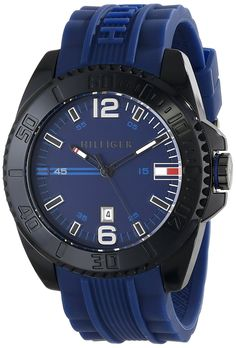 Men's Wrist Watches - Tommy Hilfiger Mens 1791040 Black Resin Watch with Blue Silicone Band * Visit the image link more details. Tommy Hilfiger Watches, Watches For Men, Wrist Watches, Omega Watch, Band, Image Link, Resin, Accessories, Amazon