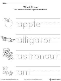 **FREE**Trace Words That Begin With Letter Sound: Q. Teach the beginning letter sound by tracing and saying the name of the matching picture while providing opportunities for your child to improve their fine motor skills in this printable worksheet. Printable Alphabet Worksheets, Alphabet Tracing Worksheets, Tracing Letters, Phonics Worksheets, Writing Worksheets, Kindergarten Worksheets, Tracing Names, Alphabet Letters, Letter A Words