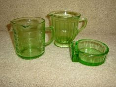 Depression Green Glass-Measuring Cup-Pitcher++