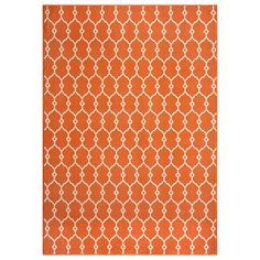 @Overstock - Indoor/Outdoor Orange Trellis Rug (6'7 x 9'6) - Simple graphic patterns with a refreshing twist of lively color palettes make up this contemporary trellis patterned rug. This beautiful rug is machine-made in Egypt of 100-percent polypropylene and approved for use both inside and outdoors.    http://www.overstock.com/Home-Garden/Indoor-Outdoor-Orange-Trellis-Rug-67-x-96/8035871/product.html?CID=214117  $163.99