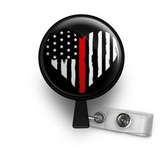thin red line fireman firefighter nurse badge reel