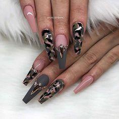 Military Nails, Army Nails, Green Nail Designs, Cute Acrylic Nail Designs, Camo Nail Designs, Nails Yellow, Green Nails, Stylish Nails, Trendy Nails