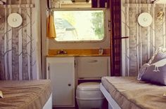 Motorhome Progress for June! is part of Motorhome Progress For June Trailer Project Camper The motorhome is coming along nicely I think we might be about done with it now ) I have been tacklin - Rv Living, Tiny Living, Home And Living, Vintage Rv, Vintage Trailers, Vintage Campers, Camper Wallpaper, Tree Wallpaper, Vintage Camper Interior