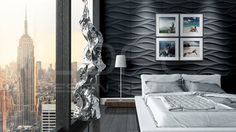 LOFT seinäpaneeli, malli www. Loft Design, Wall Design, House Design, Decorative Wall Panels, 3d Wall Panels, Design System, Dream Rooms, Textured Walls, Bed Pillows