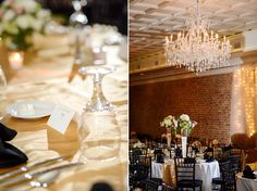 29 Sheffield Al Wedding Georges 217 Black Gold And White With Tall Floral Centerpieces Modern Vintage Reception Hall Crystal Chandeliers