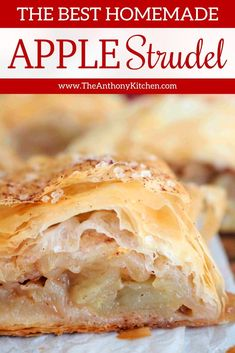 Easy Homemade Apple Strudel with a phyllo crust is perfect for fall baking, brunches, big family breakfast, and a sweet tea time snack! Make this easy apple dessert that absolutely everyone loves! #applestrudel #applerecipes #appledessert #breakfast #brunch #strudel #filodough #phyllodough