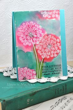 use white embossing powder and ink for dandelion stamps