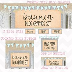 Blog Graphics Set. Website Header, Opt in Image. Graphic Design. Turquoise Bunting. Vintage Modern. Rustic Barnwood. Shabby Chic.