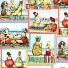 Fruit Ladies Fabric - Sand Divas Scenic Panes by Mary Stewart for Elizabeth's Studio 1501 Blue - 1/2 yard