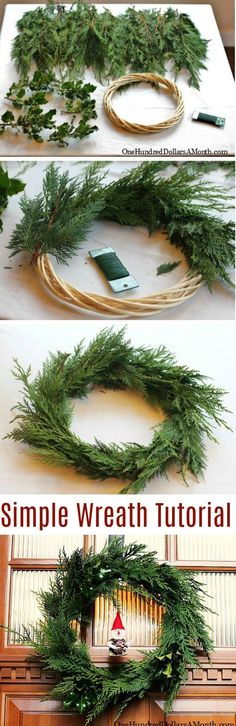 How to Make a Wreath, cedar wreath tutorial, Christmas wreath directions, Wreath